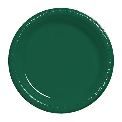 """Creative Converting 28312421 Touch of Color 9"""" Plastic Plates, Hunter Green - 240 / Case"""