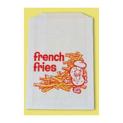 "Fischer Paper 607-FF8 French Fry Bags, Extra Large, 5.5"" x 1"" x 8"" - 2000 / Case"