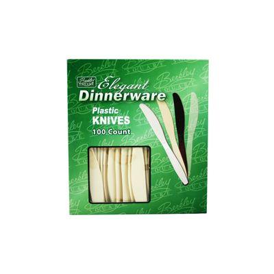 Berkley Square BS1008A-100 Elegant Dinnerware Plastic Knives, Extra Heavy Weight Polystyrene, Beige - 1000 / Case