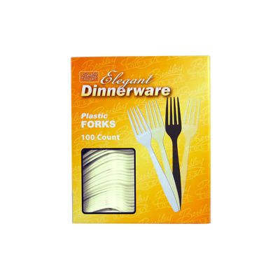 Berkley Square BS2008A-100 Elegant Dinnerware Plastic Forks, Boxed, Extra Heavy Weight Polystyrene, Beige - 1000 / Case