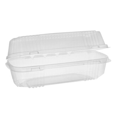 "Pactiv YCI81049 ClearView Plastic Hoagie Containers, 9.25"" x 4.5"" x 3"", Clear - 250 / Case"
