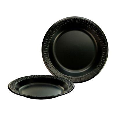 """Dart 10PBQR Quiet Classic 10.25"""" Foam Plates, Laminated, Black - 500 / Case"""