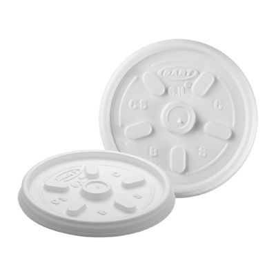 Dart 6JL Vented Plastic Lids for Foam Cups / Containers Ending in 6, White - 1000 / Case