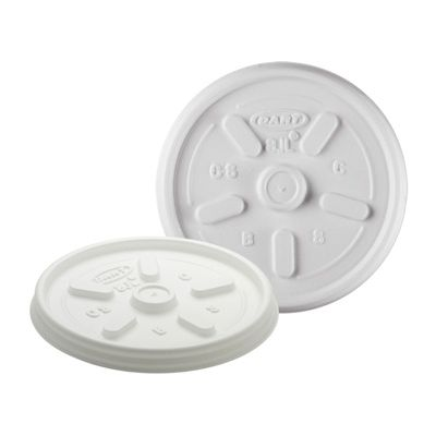 Dart 8JL Vented Plastic Lids for 8 oz Foam Hot Cups & Cups Ending in 8, White - 1000 / Case
