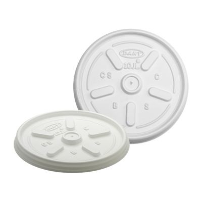 Dart 10JL Vented Plastic Lids for 10 oz Foam Cups, White - 1000 / Case