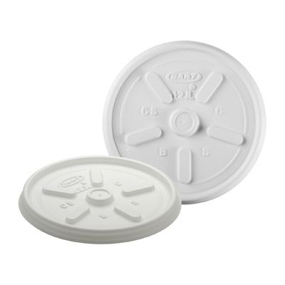 Dart 12JL Vented Plastic Lids for Foam Cups Ending in 12, No Straw Hole, White - 1000 / Case
