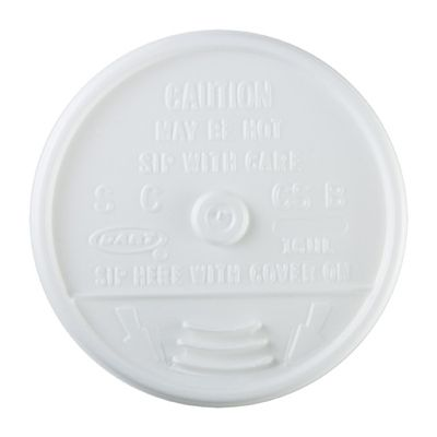 Dart 10UL Plastic Sip Thru Lids for 10 oz Foam Cups Ending in 10, White - 1000 / Case