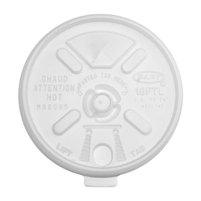 Dart 16FTLS Lift N' Lock Plastic Lids for Foam Cups Ending in 16, Fold Tab / Straw Slot, Translucent - 1000 / Case