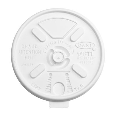 Dart 12FTL Lift N' Lock Plastic Lids for Foam Cups Ending in 12, White - 1000 / Case
