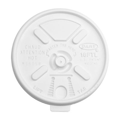 Dart 16FTL Lift N' Lock Plastic Lids for Cups Ending in 16, White - 1000 / Case