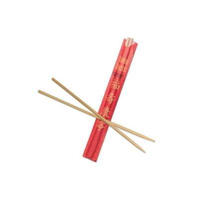 "AmerCareRoyal R809 Bamboo Chopsticks in Red Paper Sleeve, 9"" Disposable - 1000 / Case"