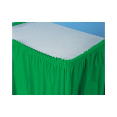 "Creative Converting 733261 Touch of Color Plastic Table Skirt, 29"" x 21.5', Emerald Green - 6 / Case"