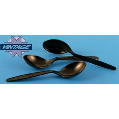 Vintage V183004 Plastic Soup Spoons, Heavyweight Polystyrene, Black - 1000 / Case