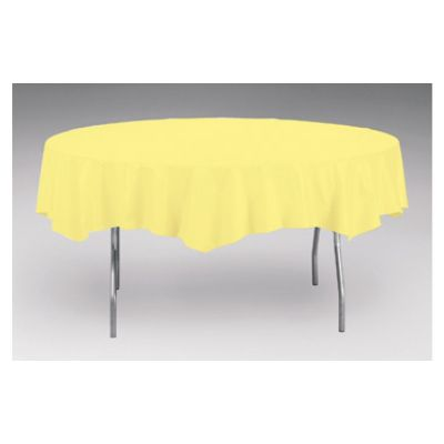 """Creative Converting 923266 Touch of Color 82"""" Round Polytissue Table Covers, Mimosa - 12 / Case"""