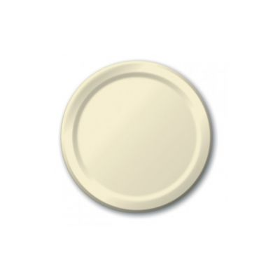 "Creative Converting 47161B Touch of Color 9"" Paper Plates, Ivory - 240 / Case"