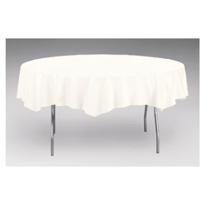 """Creative Converting 923272 Touch of Color 82"""" Round Polytissue Table Covers, White - 12 / Case"""