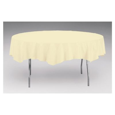 """Creative Converting 923264 Touch of Color 82"""" Round Polytissue Table Cover, Ivory - 12 / Case"""