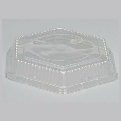 "Genpak 94710 Dome Lid for 10"" Hexagon Foam Serving Trays, Clear - 200 / Case"