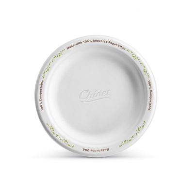 "Huhtamaki Chinet 22540 Enviro Vines 6"" Paper Plates, Molded Fiber, White with Rim Design - 1000 / Case"