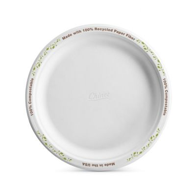 "Huhtamaki Chinet 22541 8.75"" Paper Plates, Molded Fiber, White with Enviro Vines Rim Design - 500 / Case"