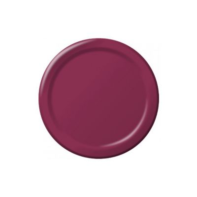 "Creative Converting 473122B Touch of Color 9"" Paper Plates, Burgundy - 240 / Case"
