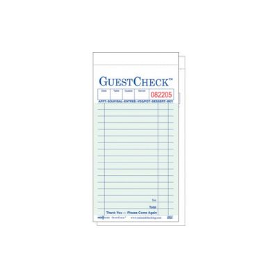 "National Checking A6000G GuestCheck 2 Part Duplicate Interleaving Carbon 17 Line Guest Checks, 3-1/2"" x 6-3/4"", Green - 2500 / Case"