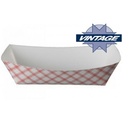 "Vintage VFT100 1 lb Paper Food Trays, 6-1/2"" x 4-1/4"" x 1-3/8"", Red Plaid - 1000 / Case"
