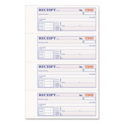 "Cardinal Brands DCH1185 Adams Tops 2-Part Hardbound Receipt Book, with Carbon, 7"" x 2-3/4"" - 1 / Case"