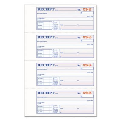 "Cardinal Brands TCH1185 Adams Tops Hardbound Receipt Book with 200 3-Part Carbonless Forms, 7"" x 2-3/4"" - 1 / Case"
