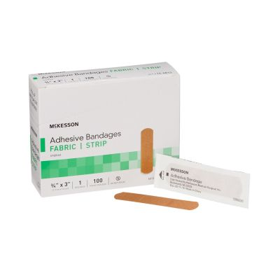 """McKesson 16-4813 Fabric Strip Adhesive Bandages, 3/4"""" x 3"""" Rectangle, Tan, Individually Wrapped, Sterile - 2400 / Case"""