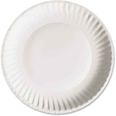 "AJM Packaging PP6GRE 6"" Paper Plates, Uncoated, White - 1000 / Case"
