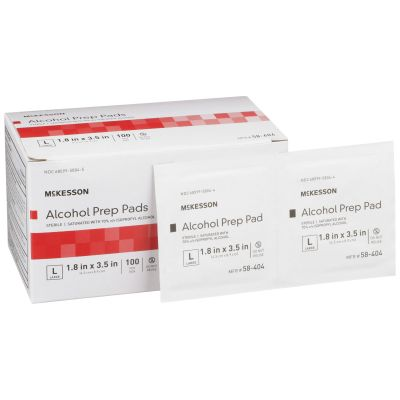 """McKesson 58-404 Alcohol Prep Pads, Isopropyl Alcohol 70%, 3.5"""" x 1.7"""", Individual Packet, Sterile - 1000 / Case"""
