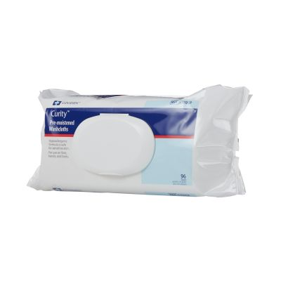 """Cardinal Health 5399SP Curity Premoistened Washcloths / Personal Wipes, Aloe, Scented, 8.7"""" x 11.8"""" - 768 / Case"""