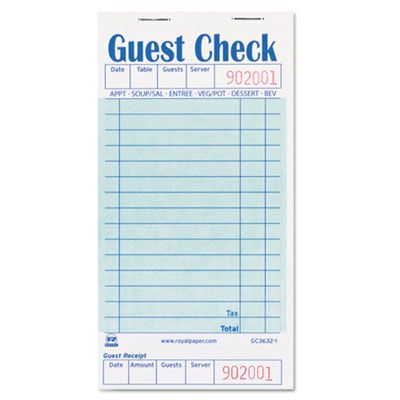 "AmerCareRoyal GC36321 Guest Check Book, 50 / Book, 3.5"" x 6.7"" - 50 / Case"