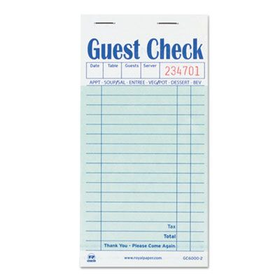 "AmerCareRoyal GC60002 Guest Check Book, Carbon Duplicate, 17 Lines, 50 / Book, 3.5"" x 6.7"" - 50 / Case"