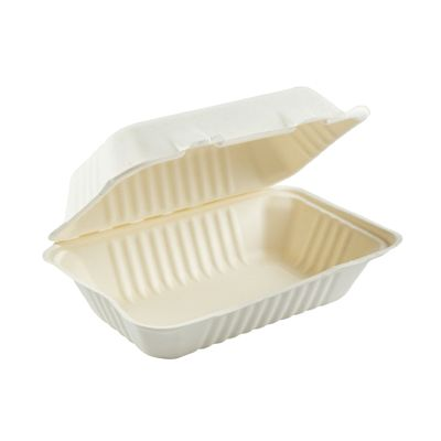 "AmerCareRoyal HL-96 Primeware Hoagie Hinged Lid Carryout Containers, Molded Fiber, 9"" x 6"", White / Natural - 250 / Case"