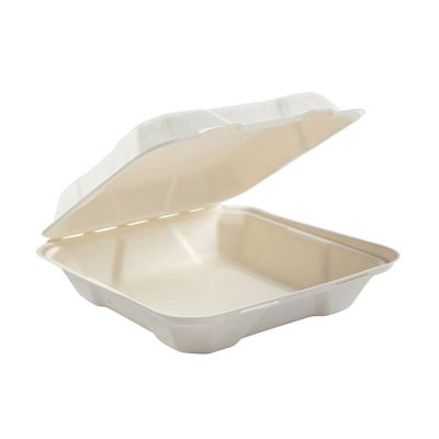 "AmerCareRoyal HL-81 Primeware Medium Hinged Lid Carryout Containers, Molded Fiber, 7.875"" x 8"" x 2.5"", White / Natural - 200 / Case"