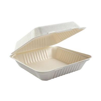 "AmerCareRoyal HL-91 Primeware Large Hinged Lid Carryout Containers, Molded Fiber, 9"" x 9"" x 3.19"", White / Natural - 200 / Case"