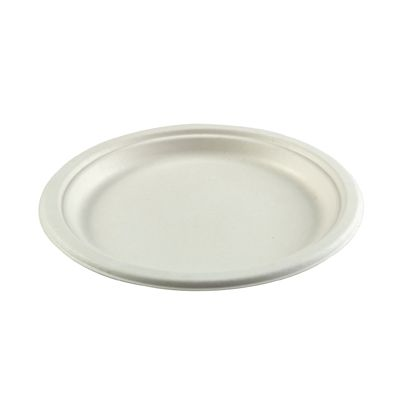 "AmerCareRoyal PL-09 Primeware 9"" Molded Fiber Plates, Bagasse, White / Natural - 500 / Case"