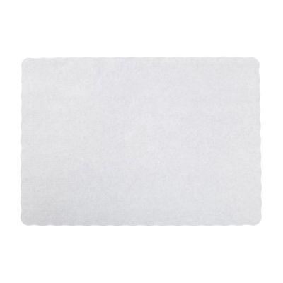 "AmerCareRoyal WSS914 Embossed Paper Placemat, Scalloped, 9.5"" x 13.5"", White - 1000 / Case"