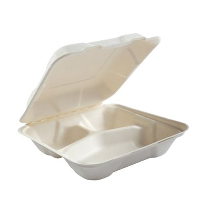 """AmerCareRoyal HL-83 Primeware Medium Hinged Lid Carryout Containers, 3 Compartment, Molded Fiber, 7.875"""" x 8"""" x 2.5"""", White / Natural - 200 / Case"""