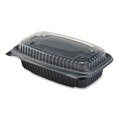 """Anchor 4696911 Culinary Lites Plastic Hinged Lid Takeout Container, Microwavable, 34 oz, 9.55"""" x 6.65"""" x 3.04"""", Black / Clear - 100 / Case"""