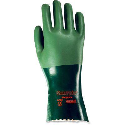 "Ansell Healthcare 835210 Scorpio Neoprene Liquidproof Work Gloves, Rough Finish, Size 10, 12"", Green - 12 / Case"