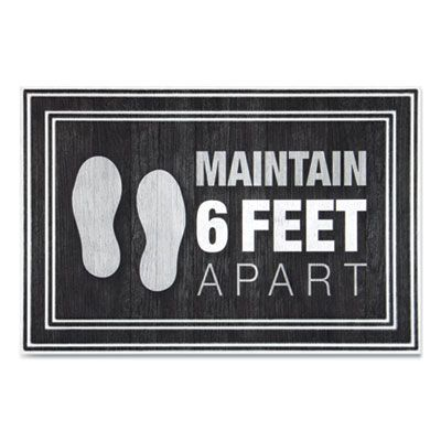 "Apache Mills 3984528772X3 Maintain 6 Feet Apart Social Distancing Mat, 24"" x 36"", Charcoal - 1 / Case"