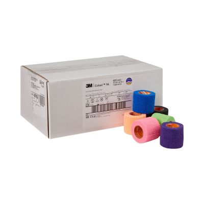 """3M 2082C Coban Cohesive Bandage w/ Self-Adherent Closure, 2"""" x 5 Yds Roll, Assorted Bright Colors - 36 / Case"""