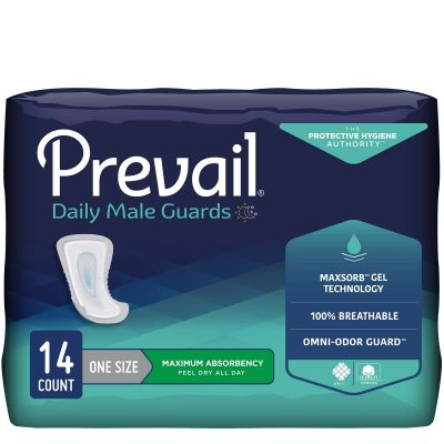 """First Quality PV-811 Prevail Daily Male Guards Bladder Control Pads, 12.5"""", Disposable, Heavy Absorbency - 126 / Case"""