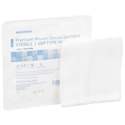 """McKesson 16-42441 USP Type VII Gauze Sponges, 12-Ply Cotton, 4"""" x 4"""" Square, Sterile - 1280 / Case"""