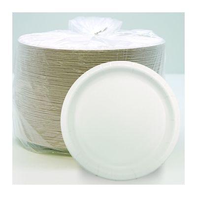 """Aspen 20500 8.5"""" Premium Coated Paper Plates, White - 500 / Case"""