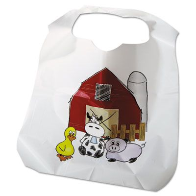 Atlantis Plastics 2BBCZF Disposable Children's Bibs, Poly with Zoo / Farm Pattern - 250 / Case
