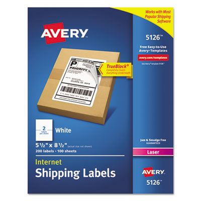 "Avery 5126 Internet Shipping Labels, 5.5"" x 8.5"", White - 200 / Case"